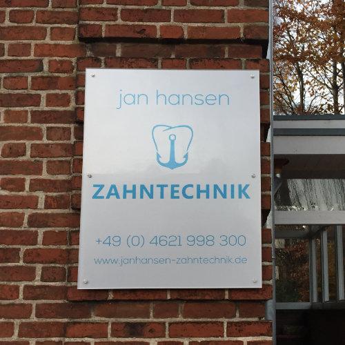 Firmenschild Jan Hansen Zahntechnik
