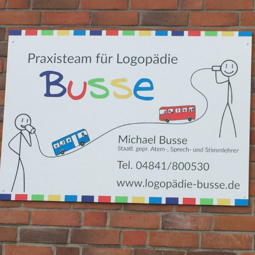 Praxisschild Logopädie Busse