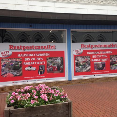 Fensterbeschriftung Restpostenoutlet Rendsburg